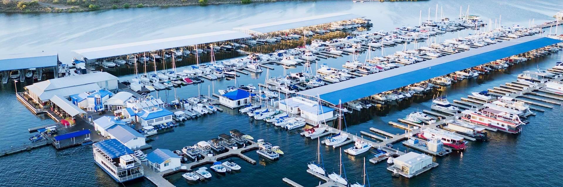 An arial view of Pleasant Harbor Marina
